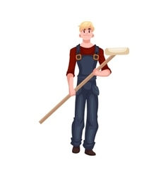 Full length portrait of house painter holding a vector