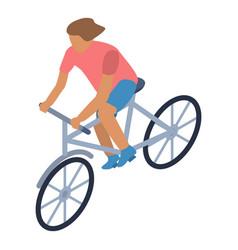 girl bike walk icon isometric style vector image