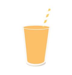 glass with ice cream milkshake vanilla flavor vector image
