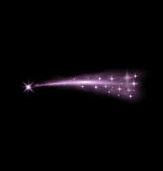 glittering flying comet purple color vector image