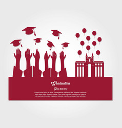graduate students silhouette characters vector image