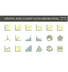 graph and chart icon set 48x48 pixel perfect and vector image