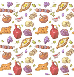 Hand drawn georgian food seamless pattern vector