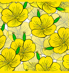Hand drawn yellow flower seamless pattern vector