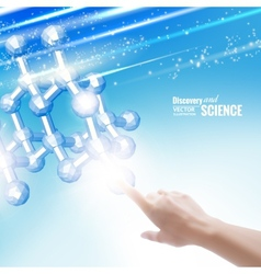 Hand touching chemical molecule vector