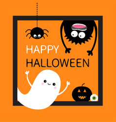 Happy halloween card square frame flying ghost vector