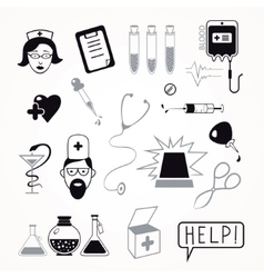 Health care and medicine icon set vector image