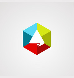 hexagon chat logo with modern concept and vector image