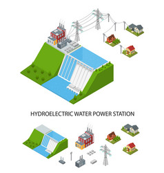 hydroelectricity power station and element set vector image