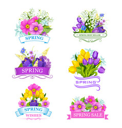 icons spring flowers for sale labels vector image