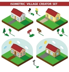 Isometric house3D Village Landscape creator set vector image