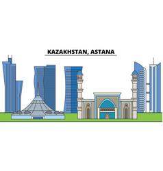 Kazakhstan astana city skyline architecture vector