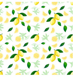 lemon seamless pattern lemons cocktail citrus vector image
