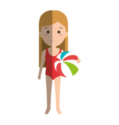 little girl in beach dress vector image