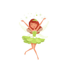 Magical fairy in beautiful green dress happy girl vector