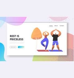 man and woman healthy lifestyle people doing yoga vector image