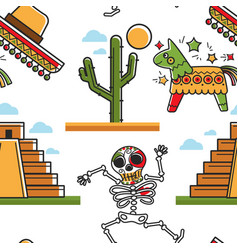 Mayan pyramid and skeleton sombrero and cactus vector
