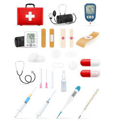 medical set icons equipment tools and objects vector image