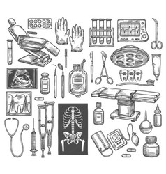 Medical therapy surgery sketch equipment vector