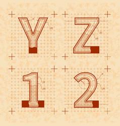 medieval inventor sketches y z 1 2 letters vector image