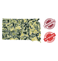 Military camouflage collage of map of south dakota vector