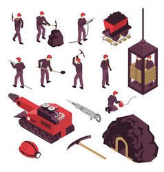 Mining industry isometric icons set vector