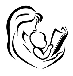 Mother and child reading the book vector