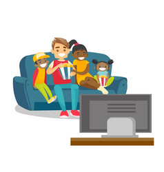 multiracial family watching television at home vector image
