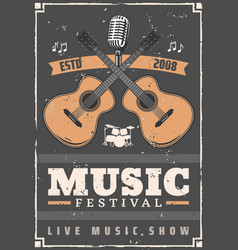 Music festival guitars drum and microphone vector