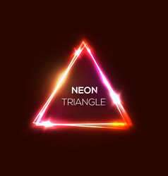 neon sign red pink abstract triangle background vector image