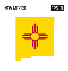 New mexico map border with flag eps10 vector