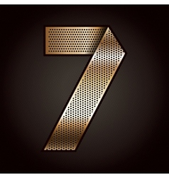 Number metal gold ribbon - 7 - seven vector image