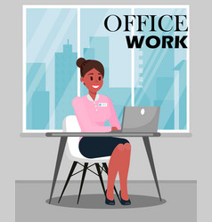 Office work color with text vector