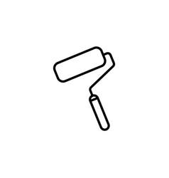 Paint roller icon paintbrus sign black on white vector