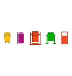 park garbage can icon set color outline style vector image