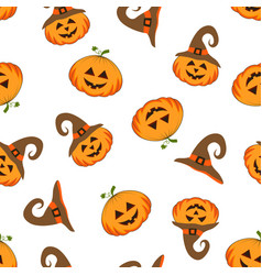 pattern with cute halloween pumpkin vector image