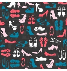 Pattern with multicolor different kinds of shoes vector