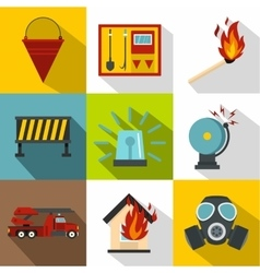 Protection from fire icons set flat style vector image