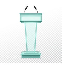 realistic stand for press conference vector image