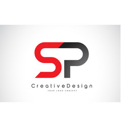 red and black sp s p letter logo design creative vector image