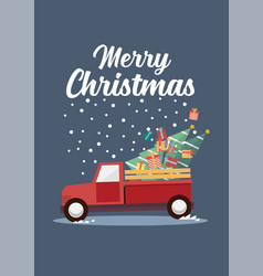 red truck with a christmas tree vector image