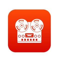 retro tape recorder icon digital red vector image