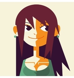 Retro vintage low poly flat girl face vector