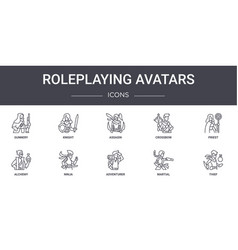 Roleplaying avatars concept line icons set vector