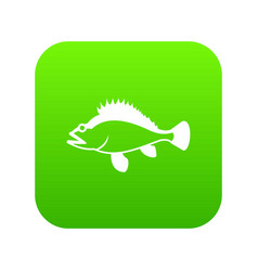 Rose fish sebastes norvegicus icon digital green vector