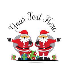 santa claus shares gifts on christmas vector image
