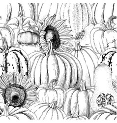 seamless pattern with pumpkins and sunflowers vector image