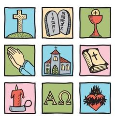 Set christianity symbols vector