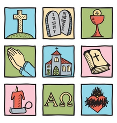 Set of christianity symbols vector image