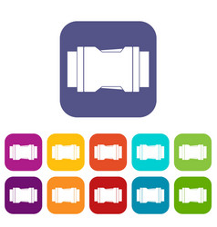 Side release buckle icons set flat vector